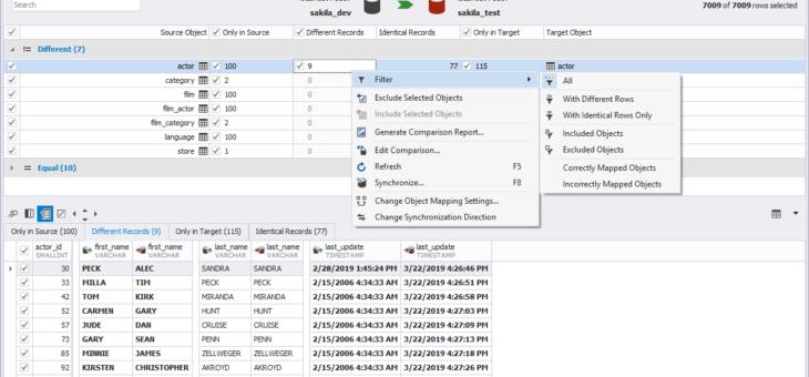 Comparer deux bases de données MySQL